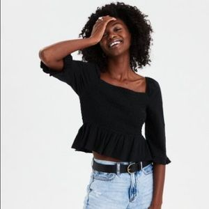 American Eagle NWT black smocked top size L